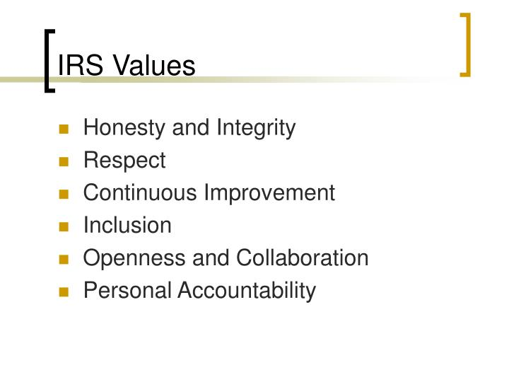 IRS Values