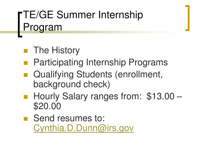 TE/GE Summer Internship Program