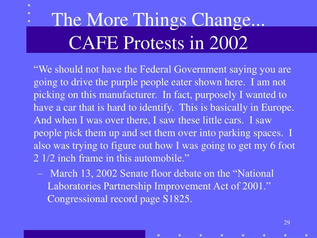 The More Things Change... CAFE Protests in 2002