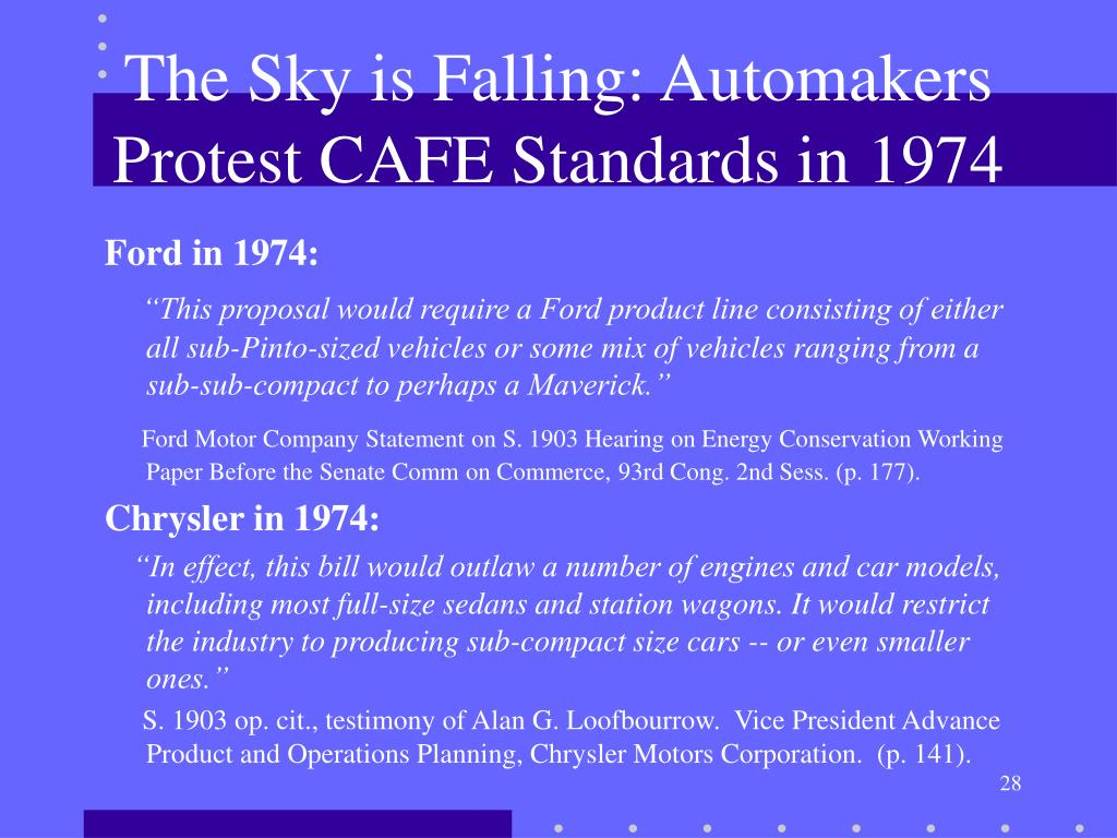 The Sky is Falling: Automakers Protest CAFE Standards in 1974