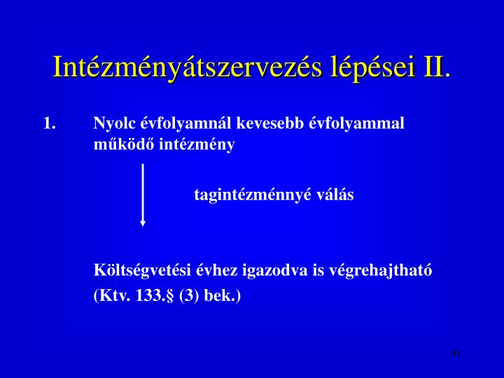 Intzmnytszervezs lpsei II