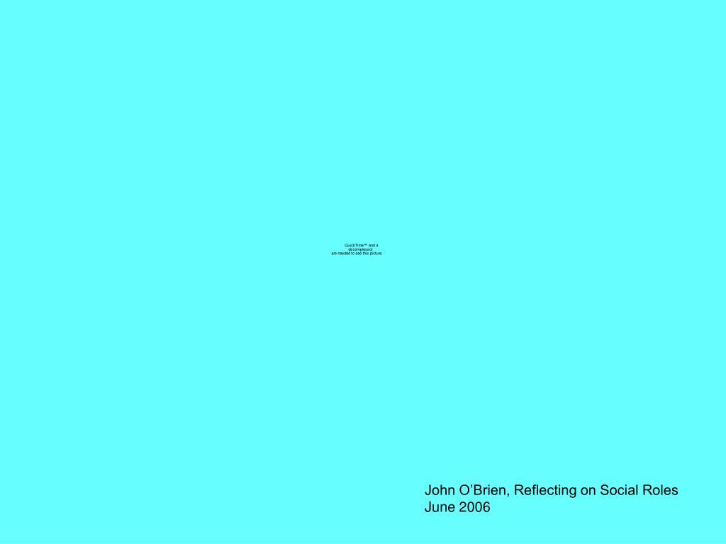 John O'Brien, Reflecting on Social Roles