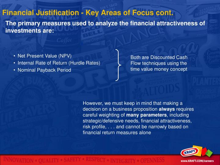 Financial Justification - Key Areas of Focus cont.
