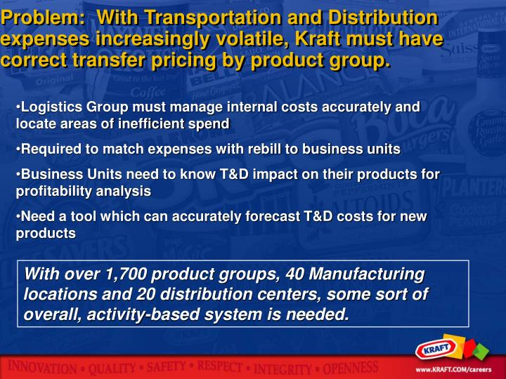Problem:  With Transportation and Distribution expenses increasingly volatile, Kraft must have correct transfer pricing by product group.