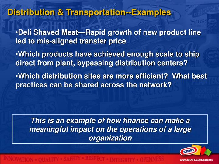 Distribution & Transportation--Examples