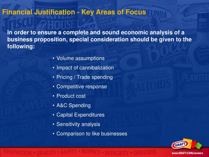 Financial Justification - Key Areas of Focus