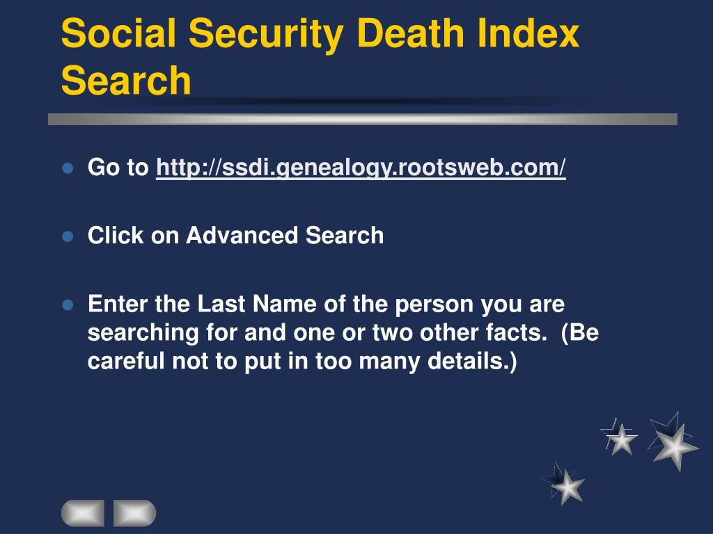 Social Security Death Index Search