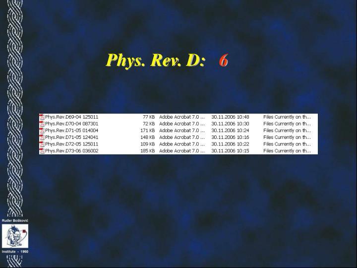 Phys. Rev. D:
