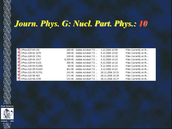 Journ. Phys. G: Nucl. Part. Phys.: