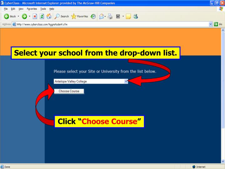 Select your school from the drop-down list.