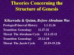theories concerning the structure of genesis20