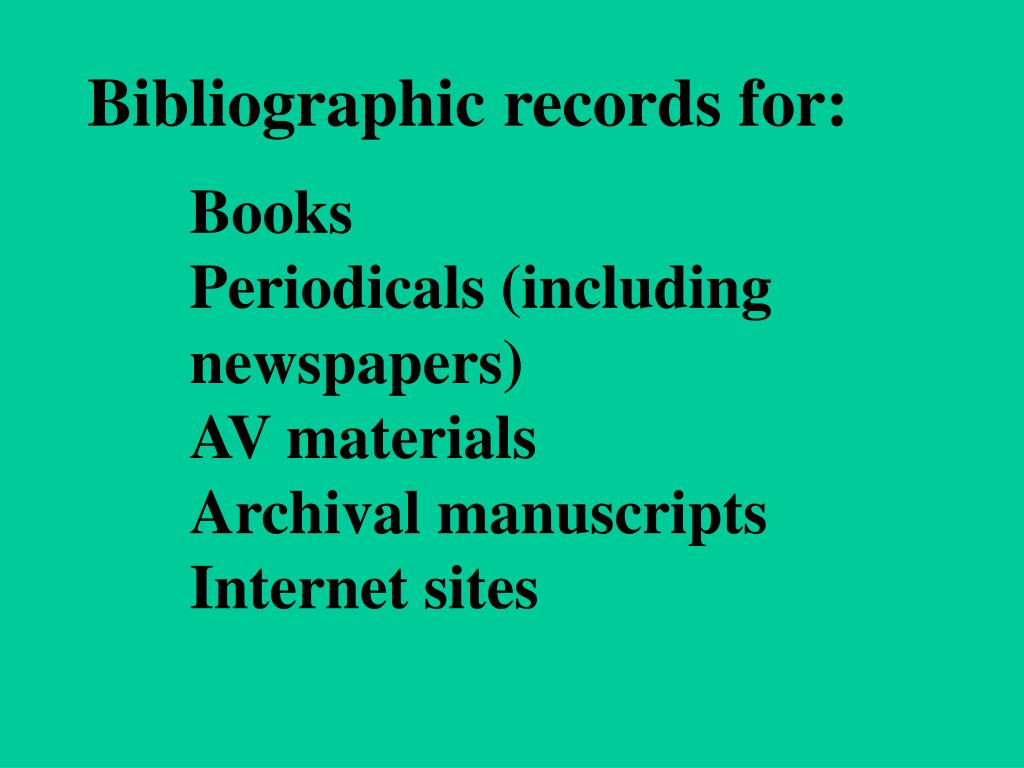 Bibliographic records for: