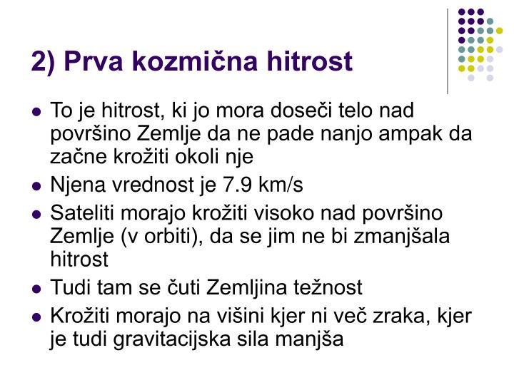 2) Prva kozmična hitrost