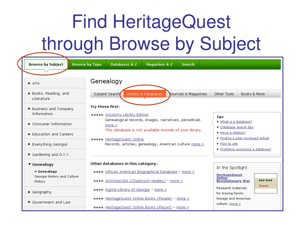 Find HeritageQuest