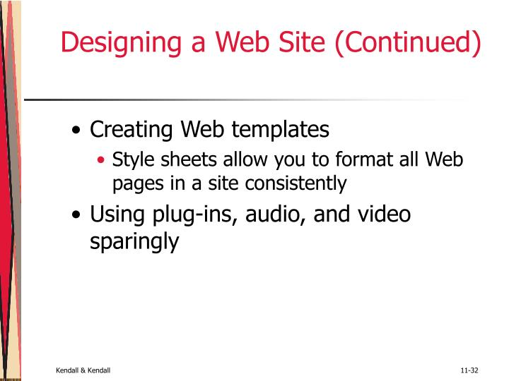 Designing a Web Site (Continued)