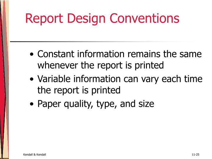 Report Design Conventions