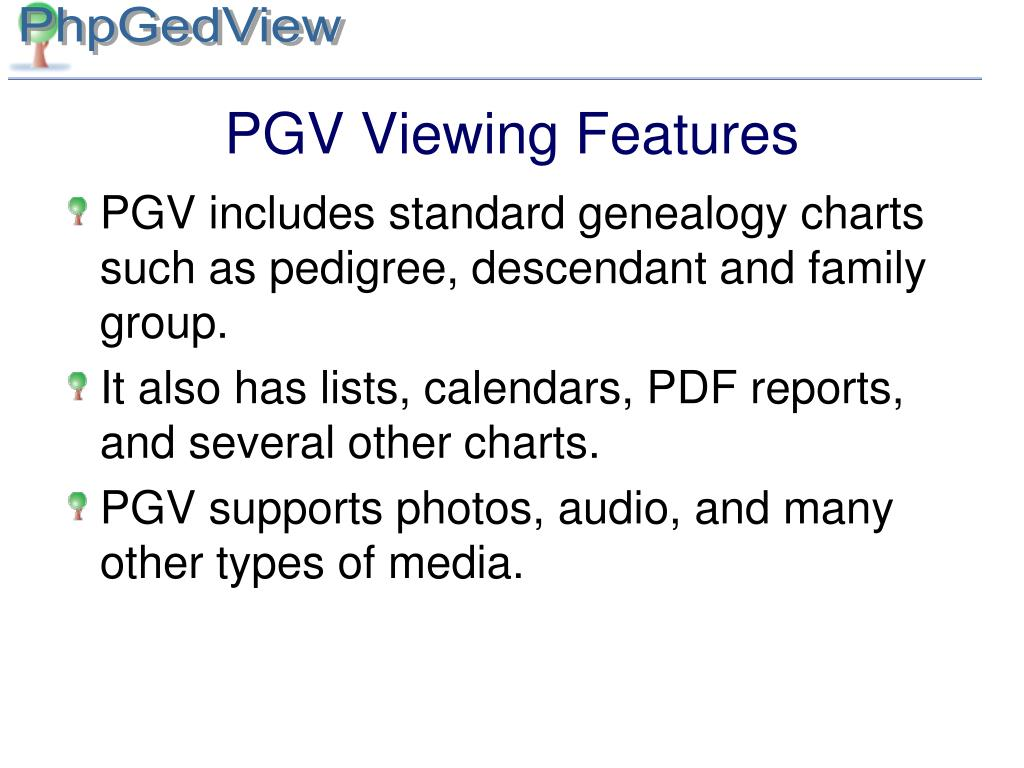 PGV Viewing Features