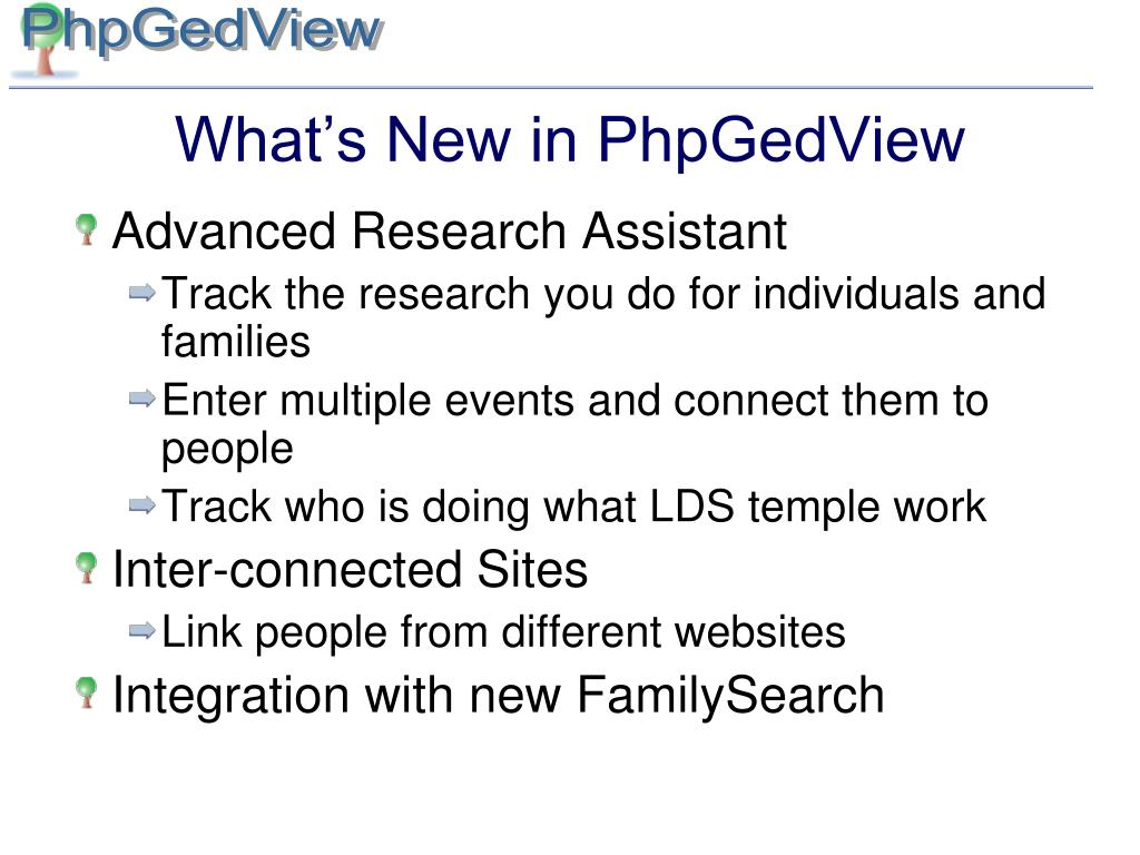 What's New in PhpGedView