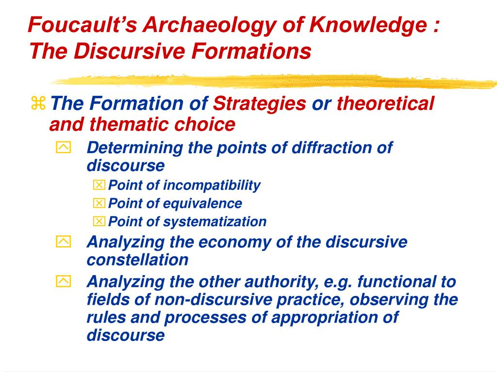 Foucault's Archaeology of Knowledge : The Discursive Formations
