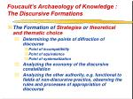 foucault s archaeology of knowledge the discursive formations