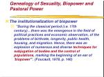 genealogy of sexuality biopower and pastoral power71