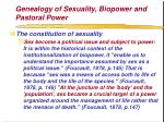 genealogy of sexuality biopower and pastoral power73