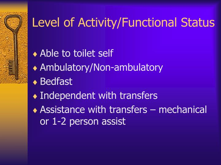 Level of Activity/Functional Status