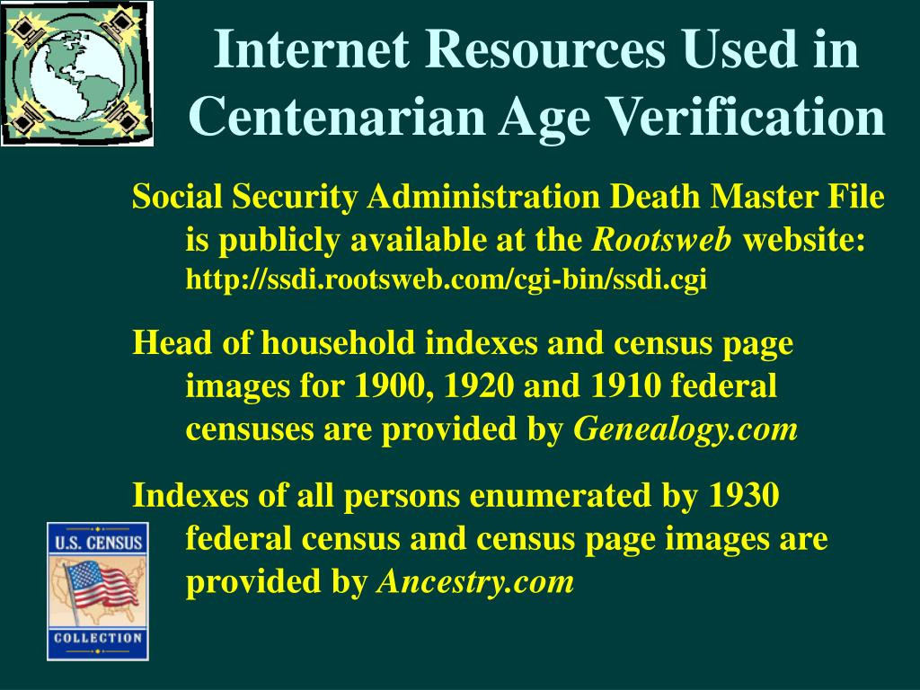 Internet Resources Used in Centenarian Age Verification
