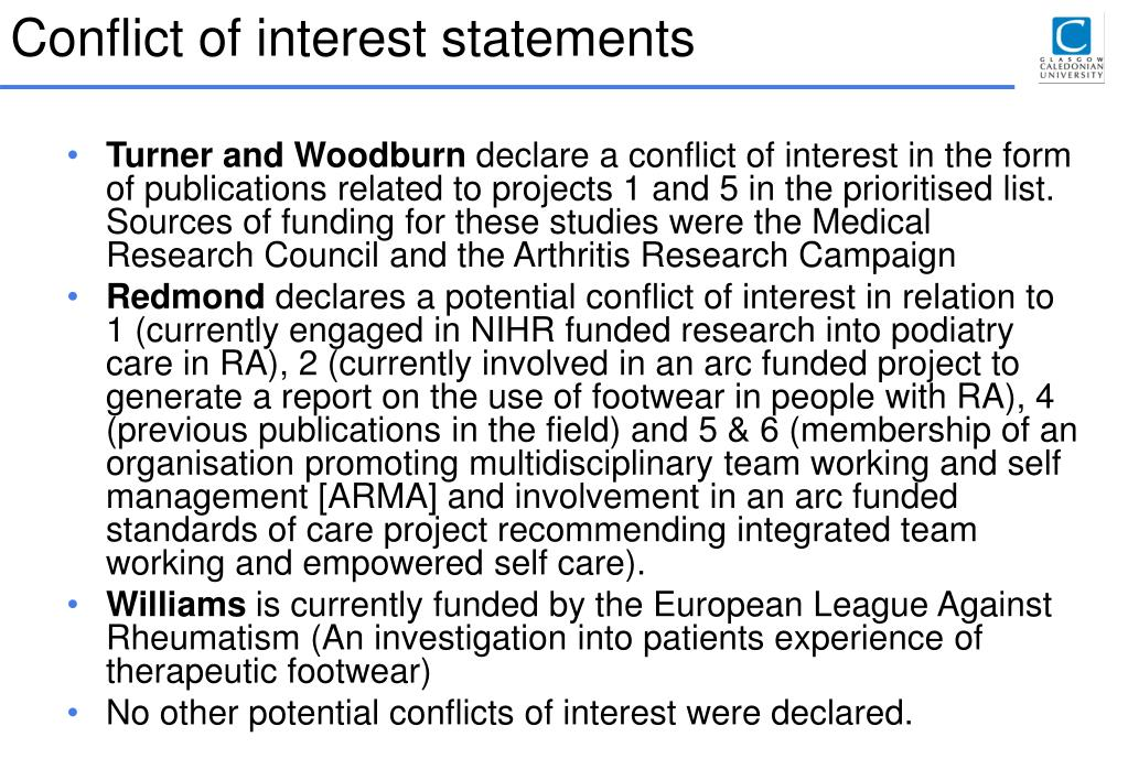 Conflict of interest statements