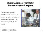 master address file tiger enhancements program22