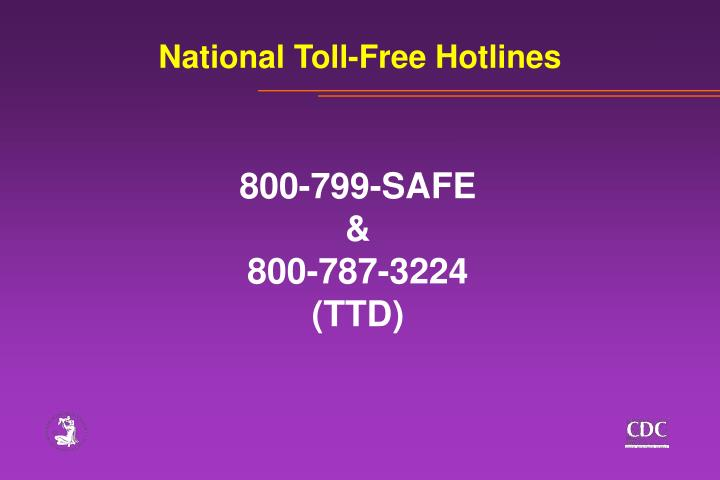 National Toll-Free Hotlines