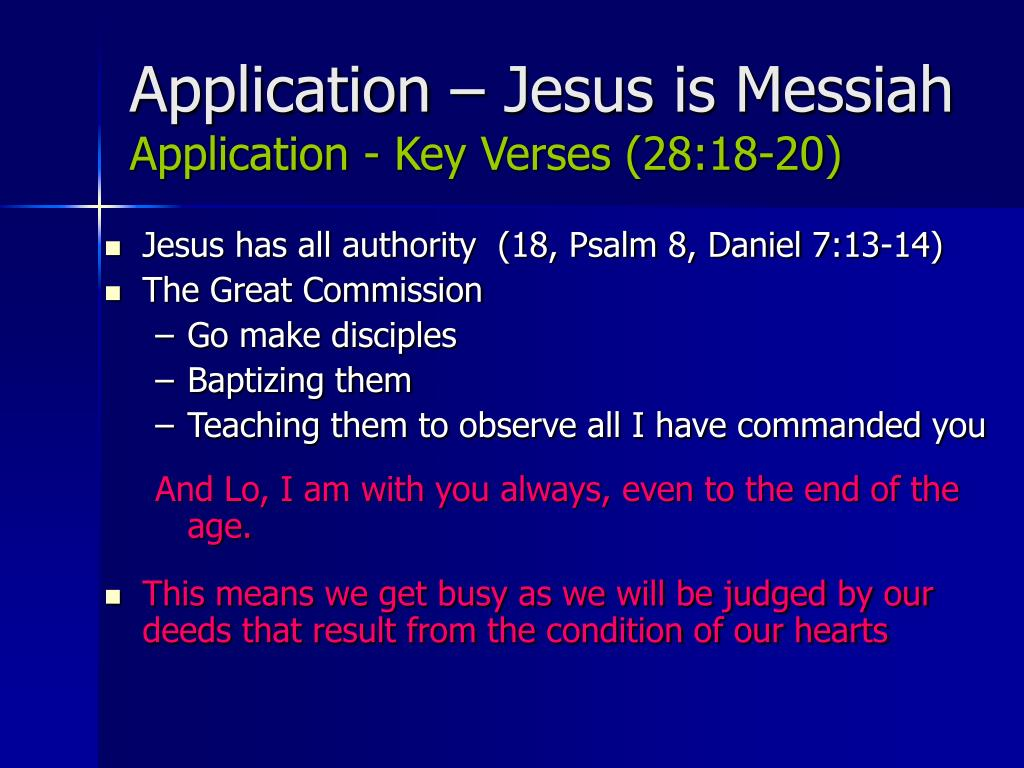 Application – Jesus is Messiah