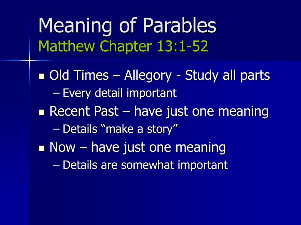 Meaning of Parables