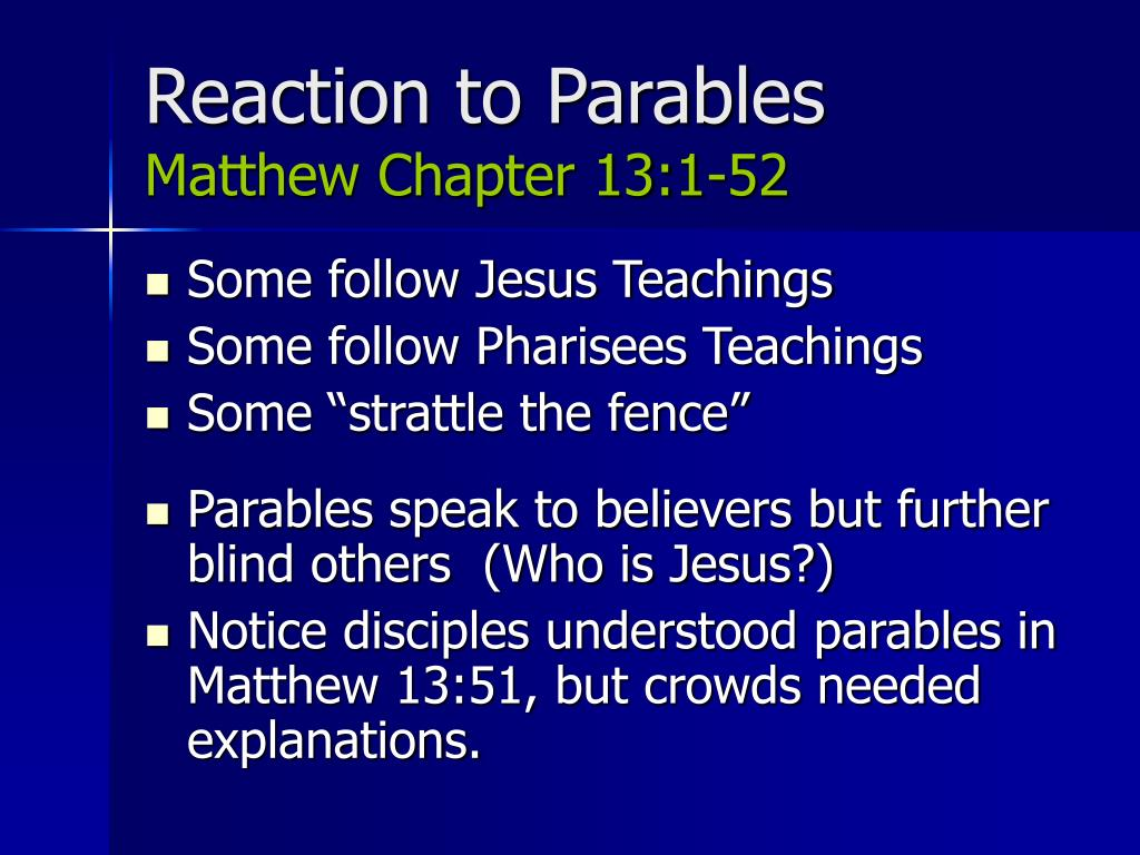 Reaction to Parables