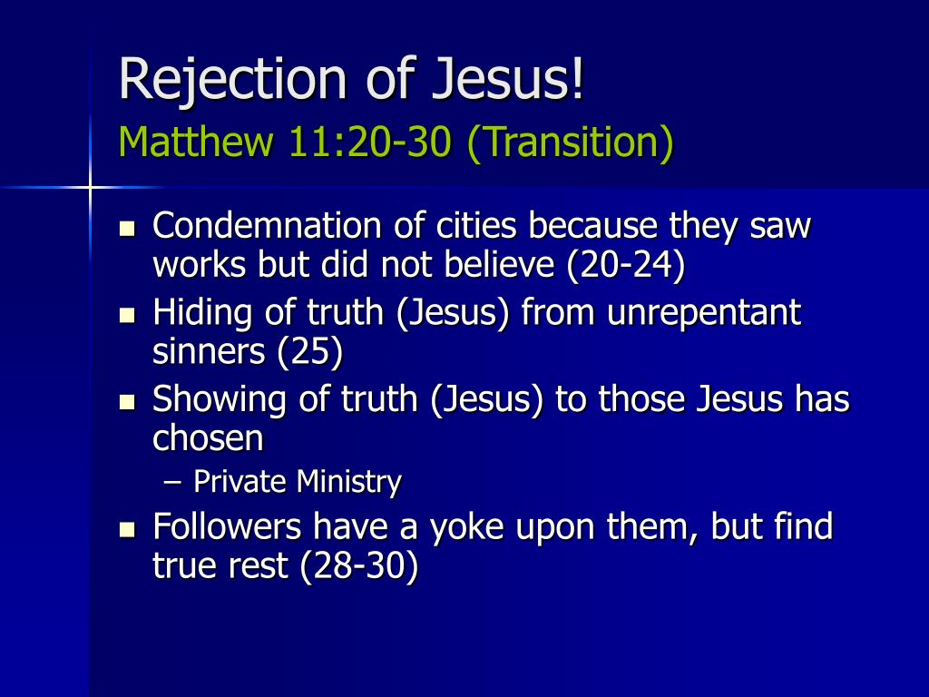 Rejection of Jesus!
