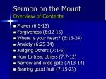 sermon on the mount overview of contents