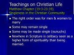 teachings on christian life matthew chapter 19 3 23 39 singleness in the christian community