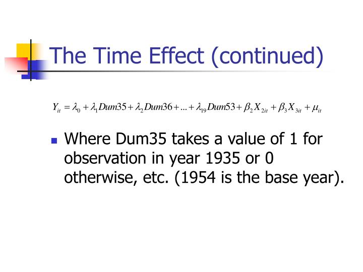 The Time Effect (continued)