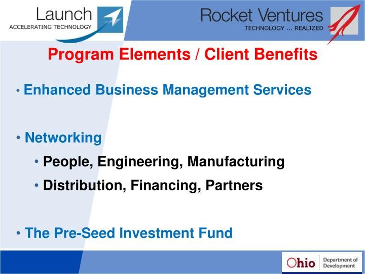 Program Elements / Client Benefits