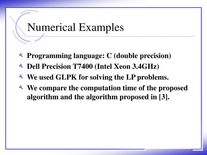 Numerical Examples