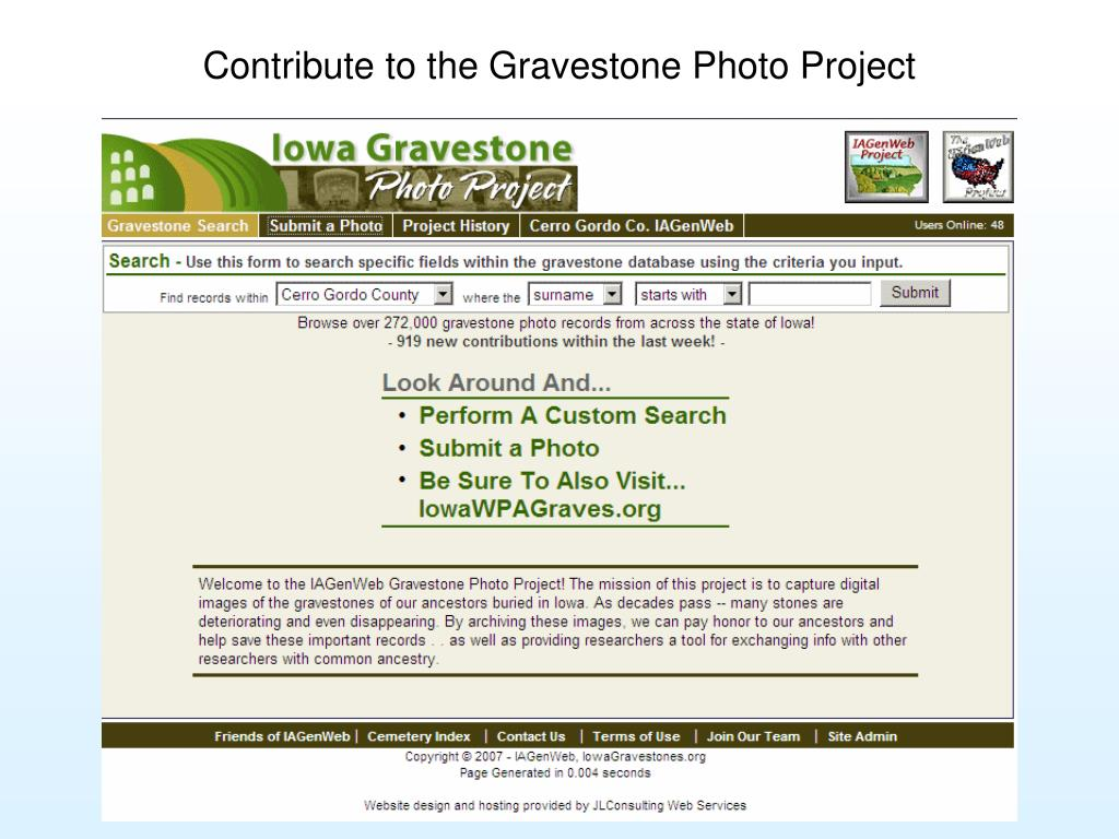 Contribute to the Gravestone Photo Project