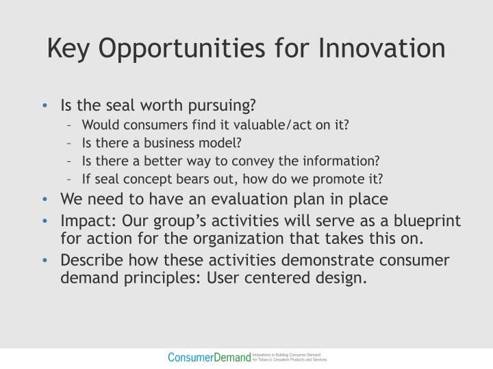 Key Opportunities for Innovation