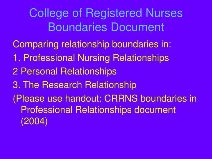College of Registered Nurses Boundaries Document