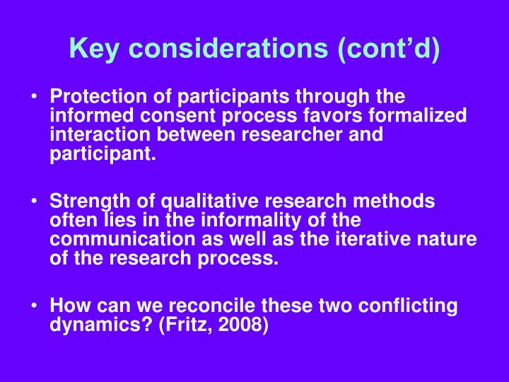 Key considerations (cont'd)