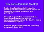 key considerations cont d