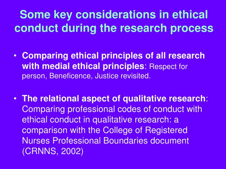 Some key considerations in ethical conduct during the research process