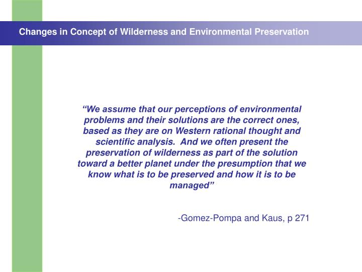 Changes in Concept of Wilderness and Environmental Preservation