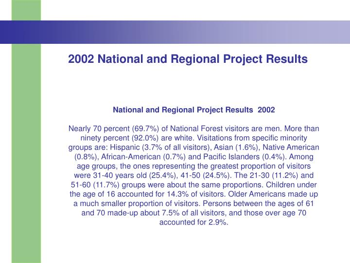 2002 National and Regional Project Results