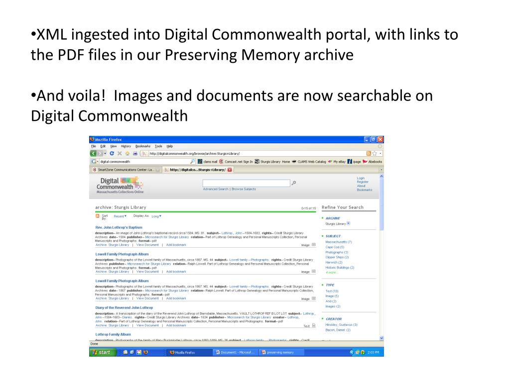 XML ingested into Digital Commonwealth portal, with links to the PDF files in our Preserving Memory archive