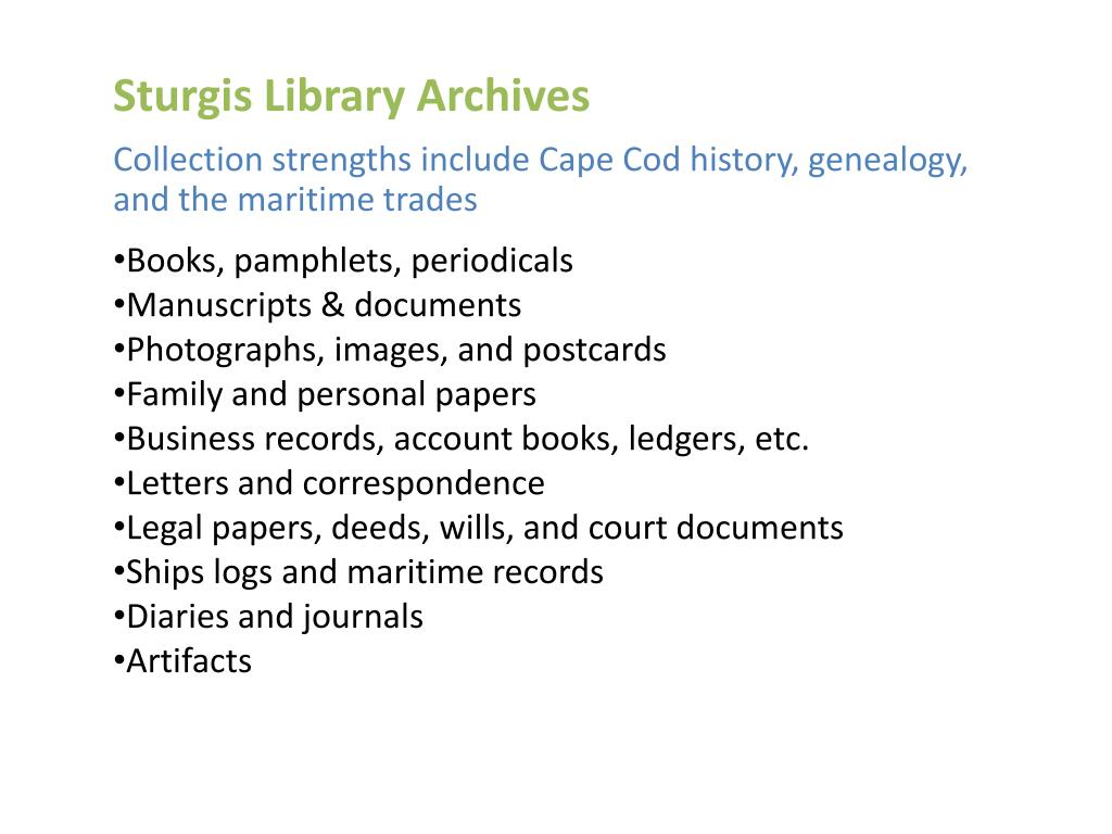 Sturgis Library Archives